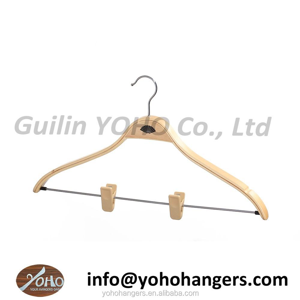 YOHO hot sale laminated garment hanger wooden clothes hangers with clips