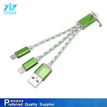 Keychain design colorful mini usb charging cable for Iphone for Android 2 in 1 data cable