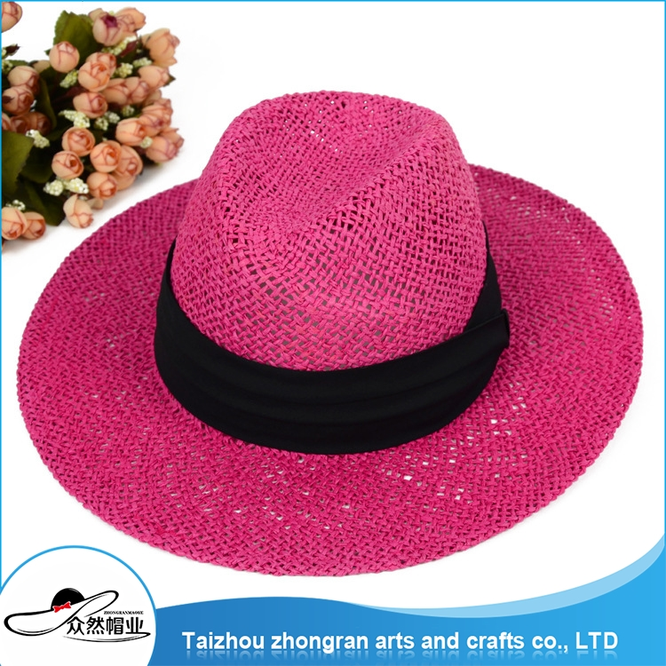 Made In China Hot Sell Roll Up Wide Brim Straw Hat Wholesale Woman Straw Cap