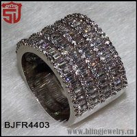 5 Raw Micro Paved Zircon Silver Over Copper Entirly Band Ring Shangjie Jewelry