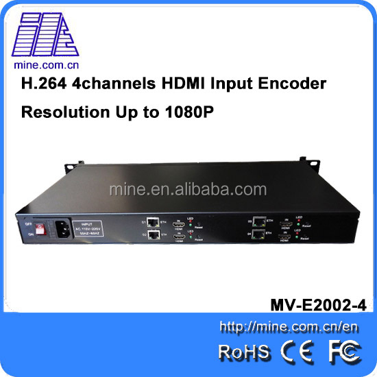 MINE technology hot selling quad channels RTMP encoder for media server video streaming hardware encoder for WeMedia