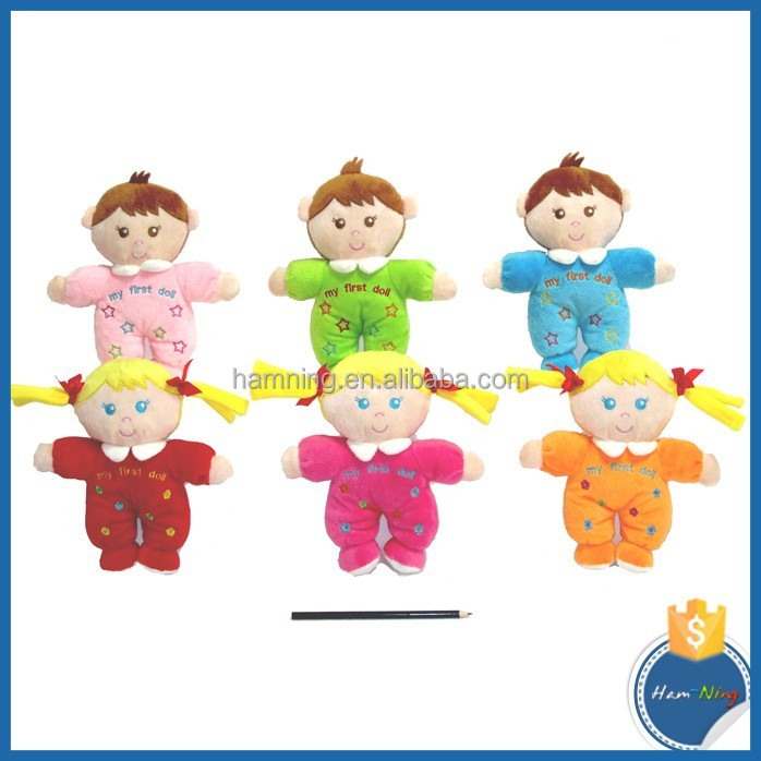 China OEM soft plush rag toys cartoon stuffed love boy and girl dolls baby rattle