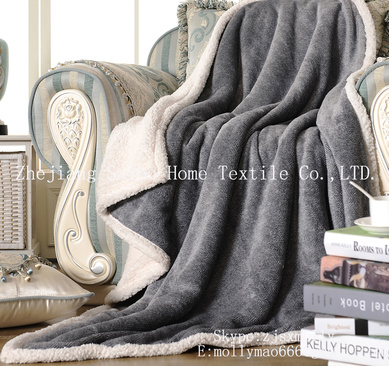 Customized size and colors heavy weight sherpa backing Home Fleece Blanket