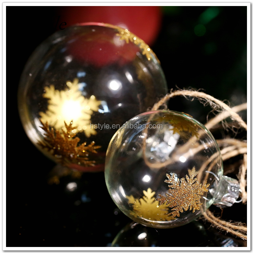 Christmas Tree Decoration Ornament Ball / Gold Chunky Snowflake/ Clear Glass Ball Wedding Party Event Message Supplier SSD120B
