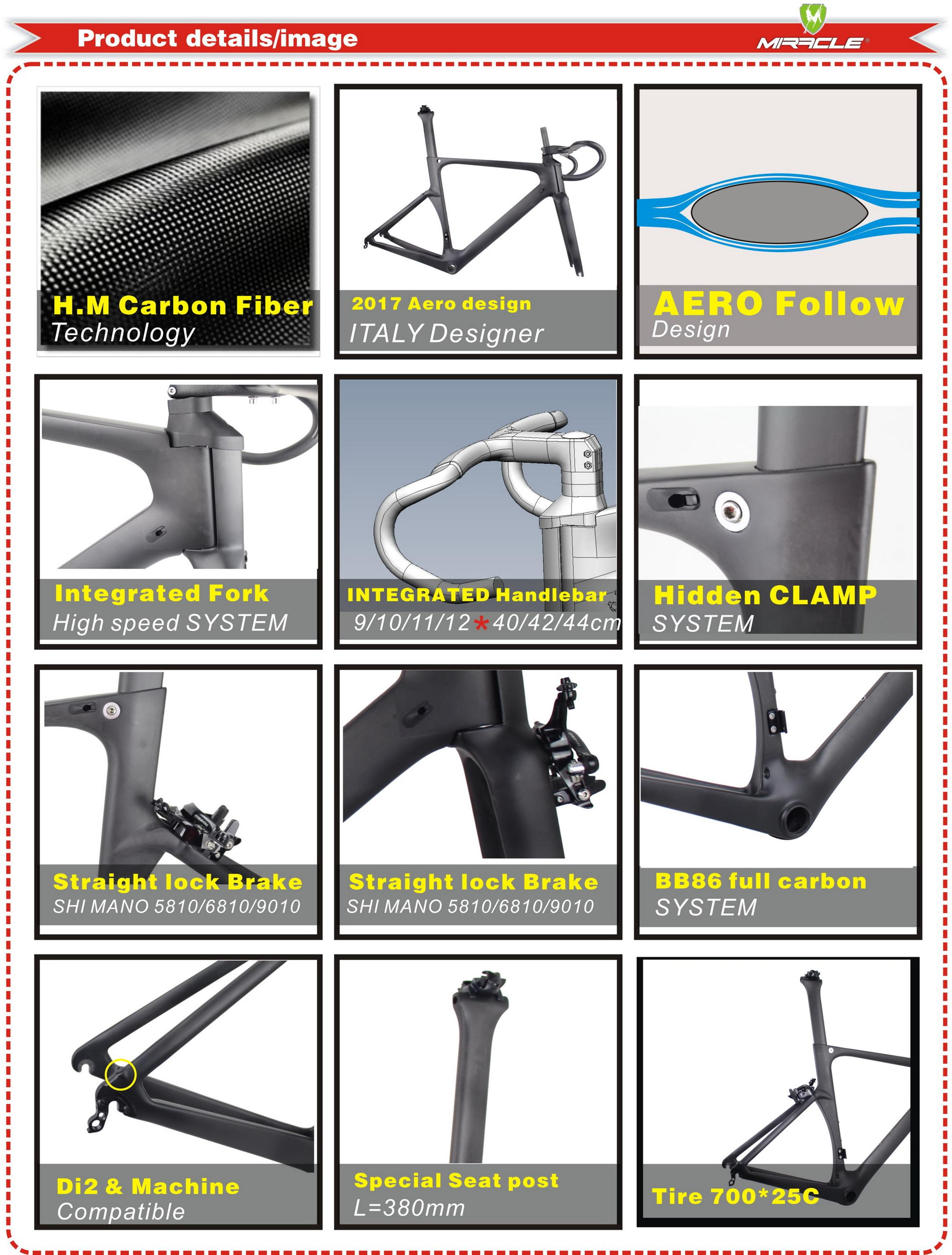AERO Road Bike Frame,T700 Full Carbon fiber Bicycle Frame,Warranty 2 Years Chinese Carbon Frame