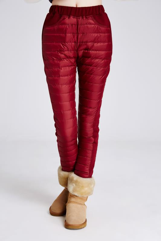 red woman down pants