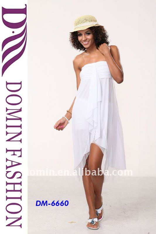 Fashion White Pleated Bandeau Dress for Summer 2012