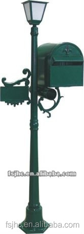 Foshan JHC-1020 Post Mounted Aluminum Mailbox/Decorative Letterbox With Solar Light/Outdoor Standing Postbox