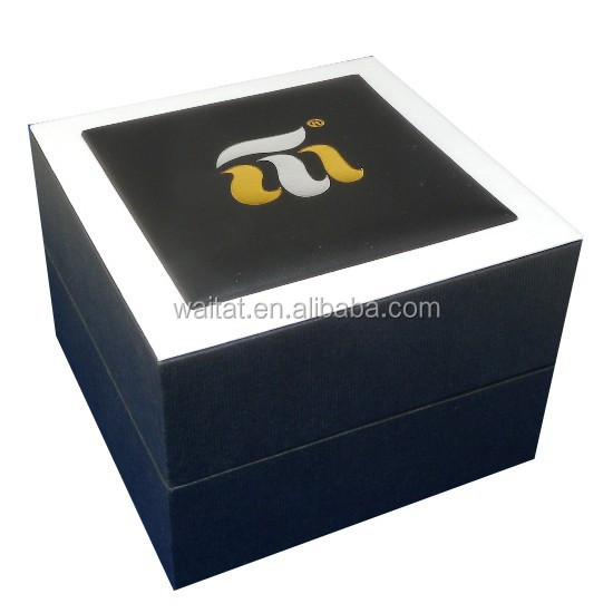 The Cube Elegant Black Vinyl Paper Wrapped Plastic Watch Case