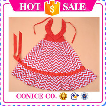 wholesale cute red chevron maxi kids backless skirt petti party dress for girls
