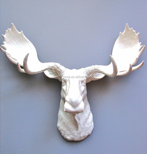 Hot sale animal head resin white moose head statue for wall decoration