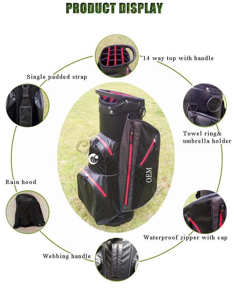 OEM Logo Nylon Materials 14 Way Waterproof Golf Cart Bag