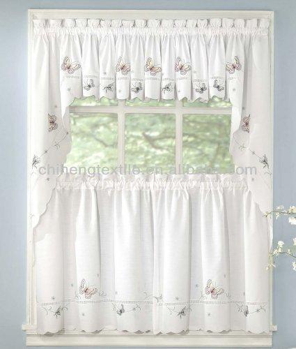 Volante del bordado cortina de la cocina cortina - Volantes de cortinas ...