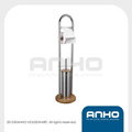 stainless steel standing toilet brush and roll holder