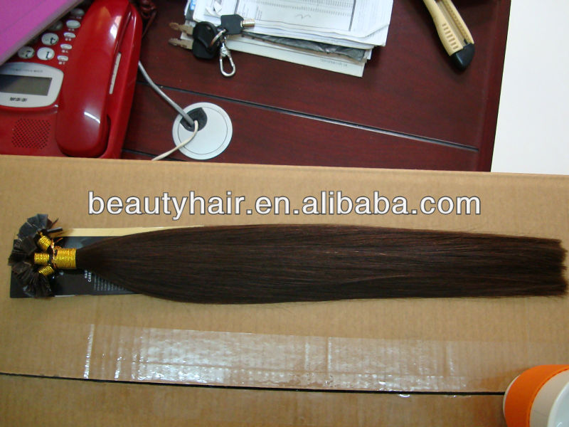 "18""/20""/22"" 'Straight Keratin Flat with <strong>K</strong> TIP Human REMY Hair Extensions in popular dark color"