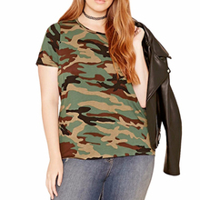 Plus Size Women Clothing Casual Streetwear Loose Camouflage O Neck T shirt