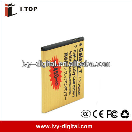 Factory price Gold Battery for Samsung Galaxy Y S5360 Rechargeable ,3.7 V 2450mAh