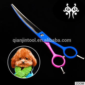 2016 Hot Sale Pet Dog Grooming Equipment Cutting Scissors Curved with Telfon Coating QJ-80005-10