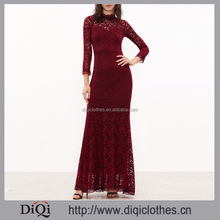 2017 New arrival stylish women red High Neck Sheer Sleeve long Floral Lace Fishtail prom Dress