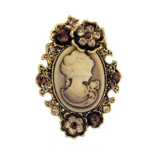 Cheap Antique Silver Gold Vintage Floral Brooches Cameo Brooch in Bulk