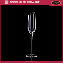 Qixian Dongjiu Hand-made Mouth- blown 190ml Clear Lead-free Crystal Glass Champagne Flute with Slant Top