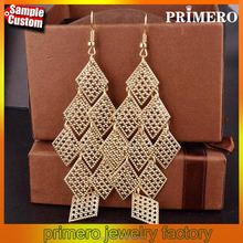 Indian 18k Gold Rhombic Tassel Long Earrings Eardrop Wholesale