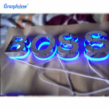 Custom Stainless steel led backlit signs Outdoors Illuminated led Channel Letters
