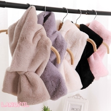 Wholesale 2017 Winter Warm Scarf Faux Rabbit Fur Collar Women Solid Color Lady Scarf