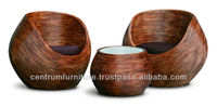 Round Rattan Tub Chair and Coffee Table