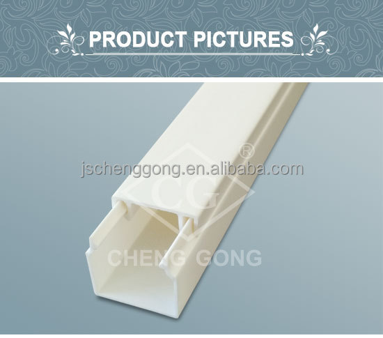China supplier 16*16 Insulation inflaming retarding white PVC cable duct wiring duct cable trunking size