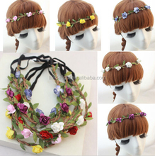 china alibaba Women Bohemia Beach Flower Hair Clips Rope Head Bands Bow Ponytail Holder