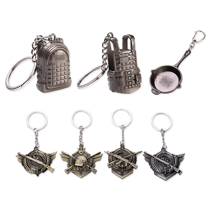 2018 Cheap gift car <strong>key</strong> eat chicken mobile game phone keychain bag and helmet