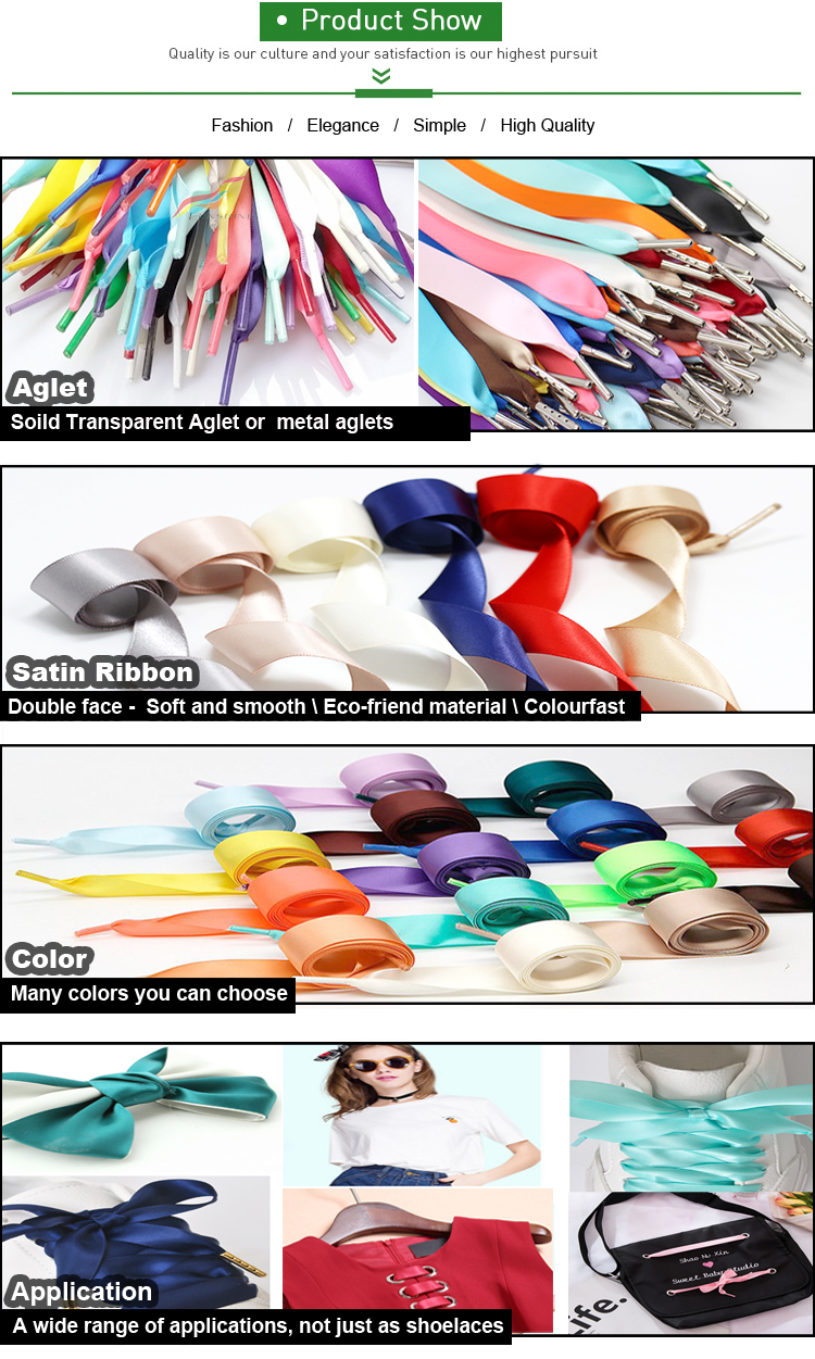 Fashion  3/4'' Wide Flat Silk Soft Ribbon Satin Shoelace for Women Girls Sneakers