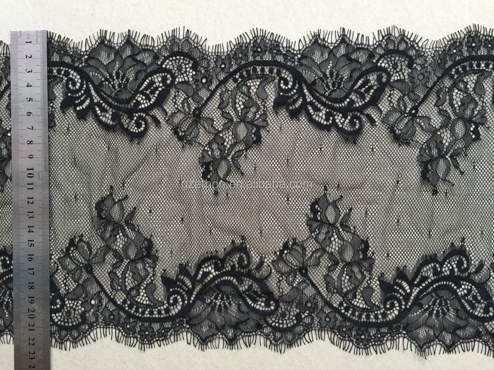 Hot sale handcut lace 100% nylon trim with eyelash for lingerie