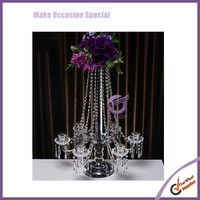 Wedding Metal Tall Dining Table Centerpieces Decorations Acrylic Candelabra with Flower Bowl