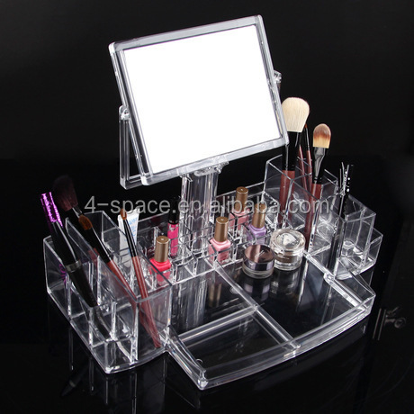 Transpatent desktop organizer plastic box with dividers acrylic containers for women