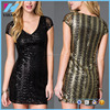 Yihao clothing sequin short sleeve v-neck cocktail dress