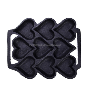 9 pieces heart mould cast iron molds bakingware antique cast iron baking pan cast iron muffin pan