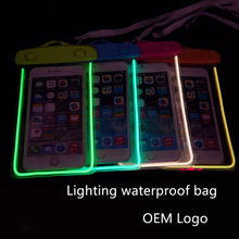 Hot Selling LED Light PVC Waterproof Bag For Mobile Phone Colorful For Your sunmmer swimming Traveling Choice