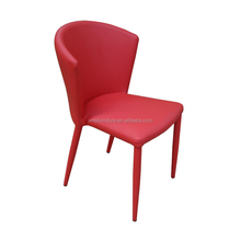Modern comfort and luxury short metal leg red artificial leather dining chair