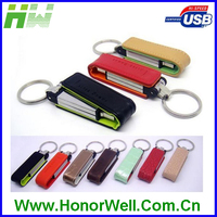 cheap leather 2.0 USB flash drive with free printing logo