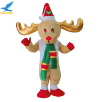 Top Grade Deluxe Christmas Reindeer Mascot Costume with red hat for adult