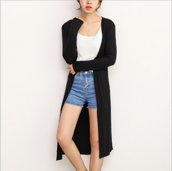 2015 New Hot Fashion Summer Style Sun Dress Korean Version Long Section Button Cardigan Modal Cardigan for Women Coat Soft Thin