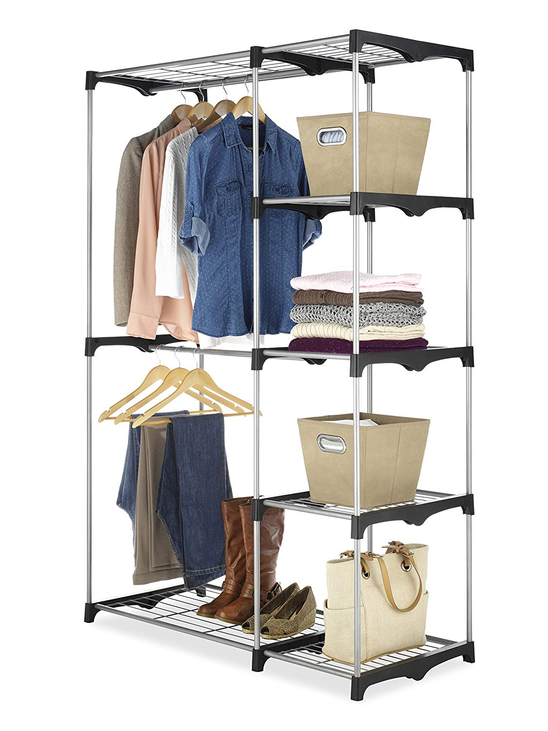 Double Rod Freestanding Plastic Wardrobe Closet