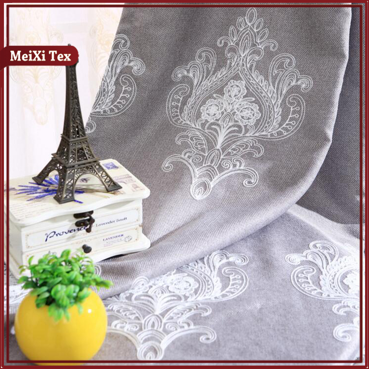 Top Elegant bedroom, burgundy color scroll loretta sheet embroidery curtain bathroom drapery panel