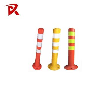 Flexible spring type plastic warning sign bollards / PU delineator post