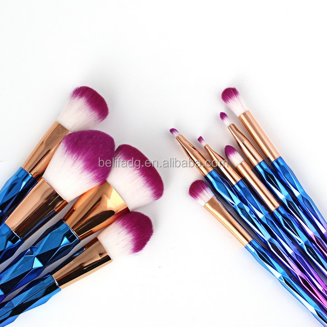 10pcs Best quality wholesale price electroplated plastic handle professional makeup brush set