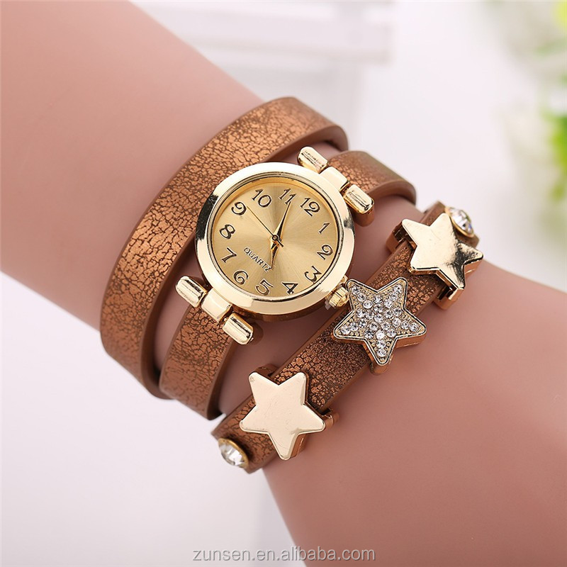 2016 New Five-pointed Star Designer Style Wholesale Female Watch Lovely PU Leather Bracelet Women Clock