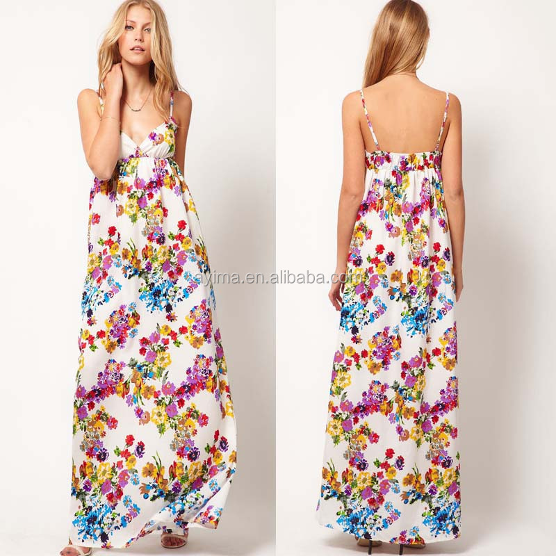 fashion woman floral maxi dress new designed boho maxi dress wholesale maxi dress thailand