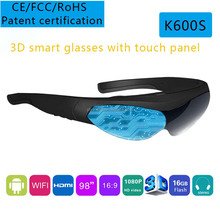 Smart Android WIFI Bluetooth Virtual 3D Glasses, 16:9 Widescreen Multimedia Player Video Glasses